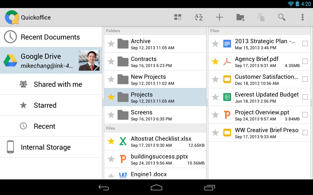 how to use quickoffice app for android