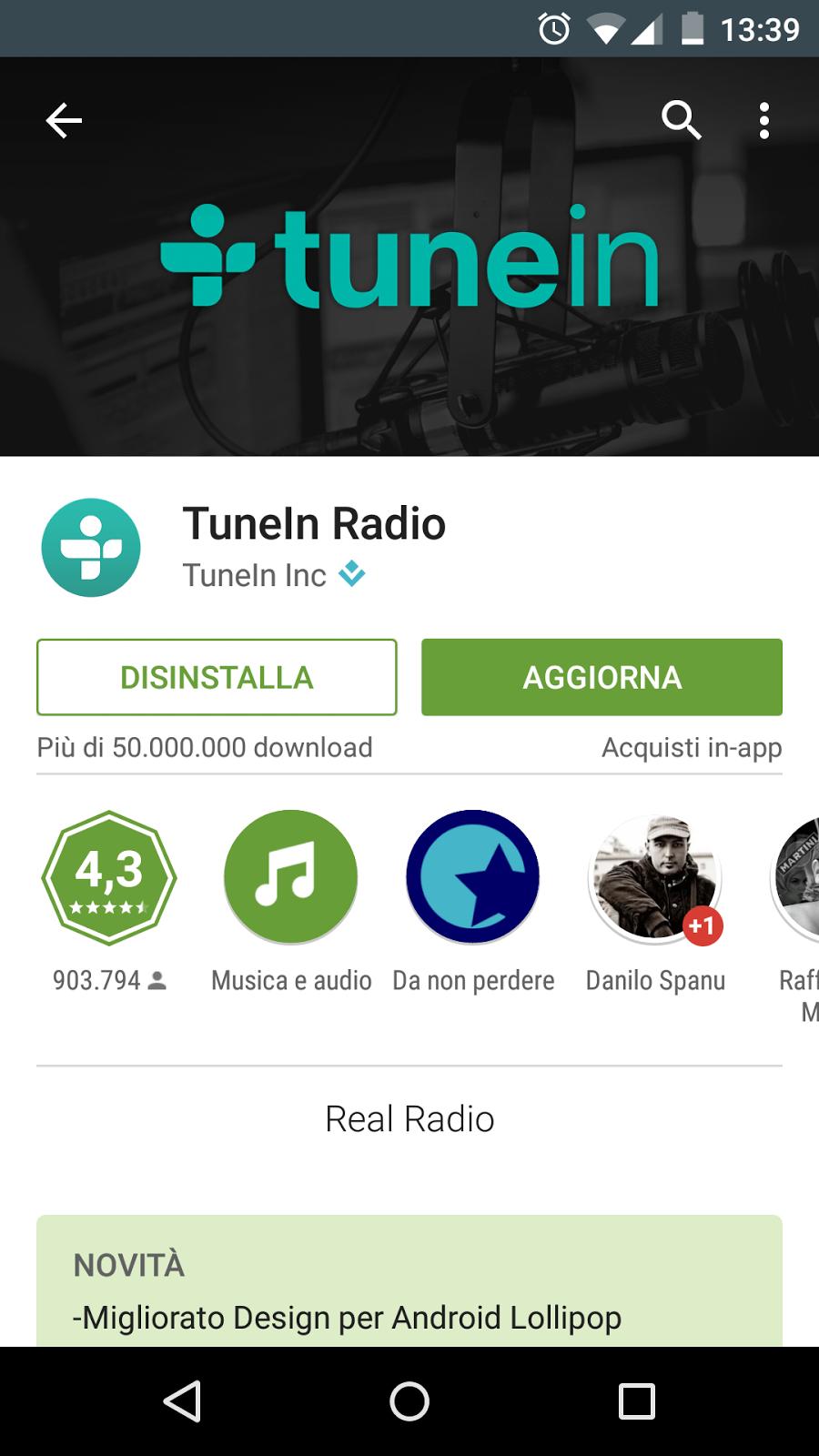 App Android Aggiornata: TuneIn Radio – TechBlog