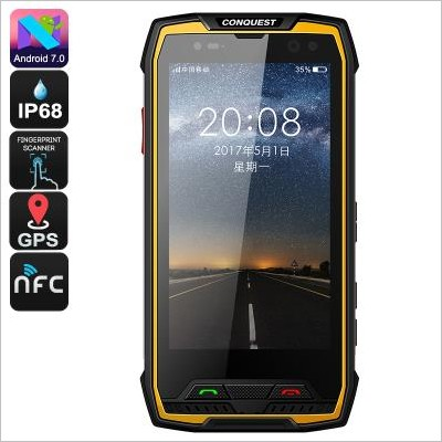Smartphone Conquest S11 - Certificato IP68, Android 7.0, CPU Octa Core, 6GB RAM, Schermo HD 5 pollici (Yellow)